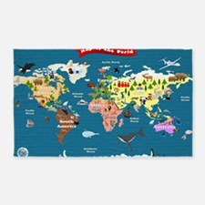 World Map For Kids - Lets Explore 3'x5' Area Rug