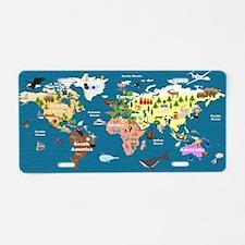 World Map For Kids - Lets E Aluminum License Plate