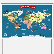 World Map For Kids - Lets Explore Yard Sign