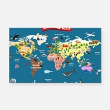 World Map For Kids - Lets Exp Rectangle Car Magnet