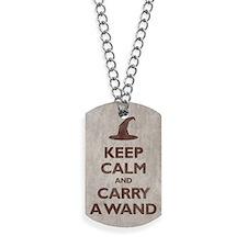 Keep Calm and Carry A Wand Dog Tags
