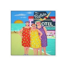 "Tourist Season Beach Seasho Square Sticker 3"" x 3"""