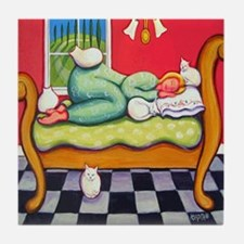 Cat Napping Woman Italy Tile Coaster
