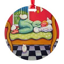 Cat Napping Woman Italy Ornament