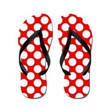 Red and White Polka Dots Flip Flops