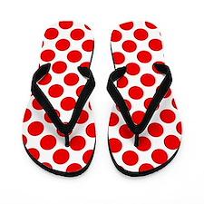 White and Red Polka Dot Flip Flops