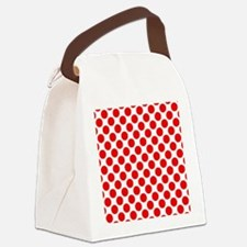 White and Red Polka Dot Canvas Lunch Bag