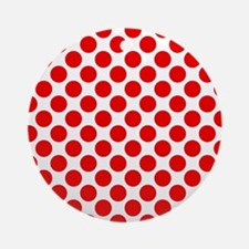 White and Red Polka Dot Round Ornament