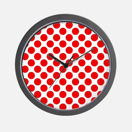 White and Red Polka Dot Wall Clock