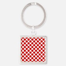 White and Red Polka Dot Square Keychain