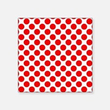 "White and Red Polka Dot Square Sticker 3"" x 3"""