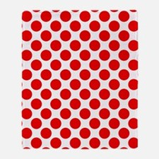 White and Red Polka Dot Throw Blanket
