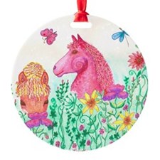 Curly Mares in Wildflowers Ornament
