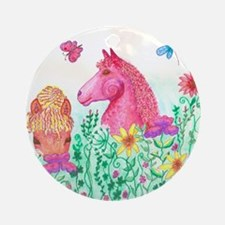 Curly Mares in Wildflowers Round Ornament