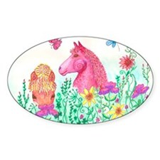 Curly Mares in Wildflowers Decal