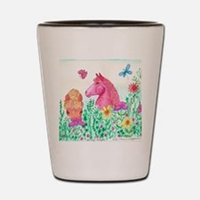 Curly Mares in Wildflowers Shot Glass