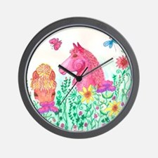 Curly Mares in Wildflowers Wall Clock