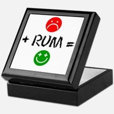 Plus Rum Equals Happy Glass Keepsake Box