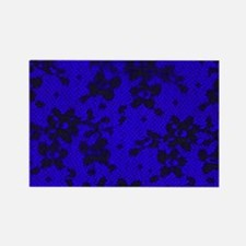 Black Lace with Blue Background Rectangle Magnet