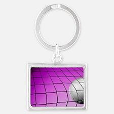 Purple Volleyball Net Landscape Keychain