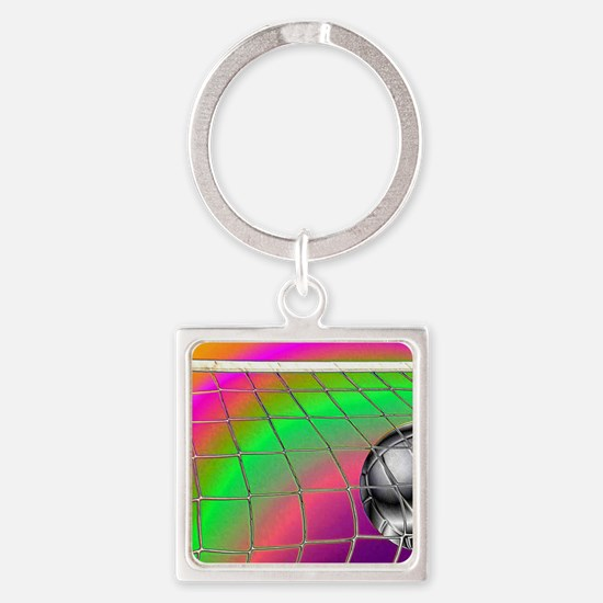 Rainbow Volleyball  Net Square Keychain