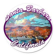 Santa Barbara Round Car Magnet