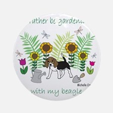 id rather be gardening with my dog. Round Ornament