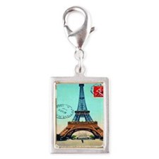 Vintage French Eiffel Tower  Silver Portrait Charm