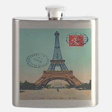 Vintage French Eiffel Tower Postcard Flask