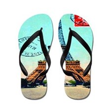 Vintage French Eiffel Tower Postcard Flip Flops