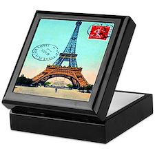 Vintage French Eiffel Tower Postcard Keepsake Box