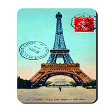 Vintage French Eiffel Tower Postcard Mousepad