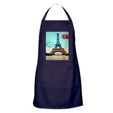 Vintage French Eiffel Tower Postcard Apron (dark)