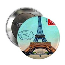 "Vintage French Eiffel Tower Postcard 2.25"" Button"
