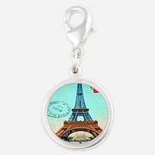 Vintage French Eiffel Tower Po Silver Round Charm