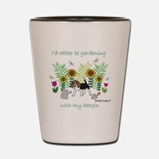 id rather be gardening with my dog.. Shot Glass