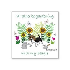 """id rather be gardening with Square Sticker 3"""" x 3"""""""