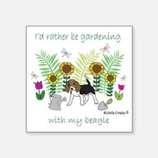 "id rather be gardening with Square Sticker 3"" x 3"""