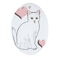 White Kitty Oval Ornament