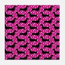 Pink Polka Doxies Tile Coaster