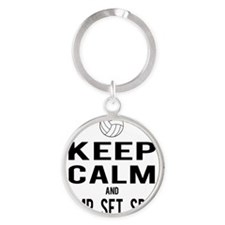Keep Calm Volleyball Round Keychain