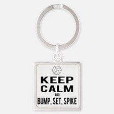 Keep Calm Volleyball Square Keychain