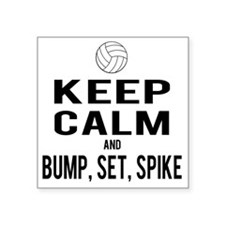 "Keep Calm Volleyball Square Sticker 3"" x 3"""
