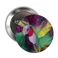 "Its Ruby, Humming Bird Design by GG B 2.25"" Button"