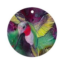 Its Ruby, Humming Bird Design by GG Round Ornament