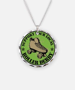 Support Roller Derby Green Necklace