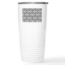 Damask Black on White Travel Coffee Mug