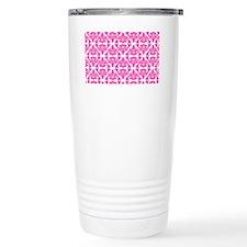 Damask Pink on White Travel Mug