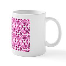 Damask Pink on White Mug