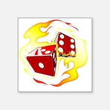 "Flaming Dice Square Sticker 3"" x 3"""